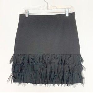 Ann Taylor Black Fringe Bottom Skirt Size 4